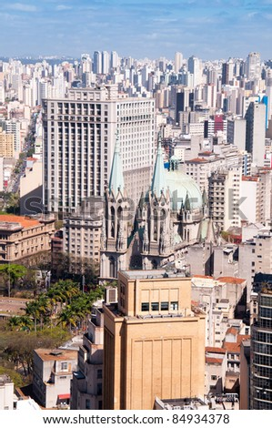Aerial View of Se Cathedral in Sao Paulo -  Brazil