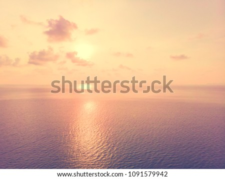 Aerial view of sea and beach with coconut palm tree on island at sunset time #1091579942