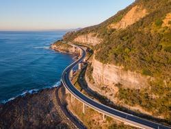 Aerial view of Sea Cliff Bridge in the morning, Sydney, Australia.