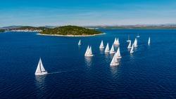 Aerial view of  sea during a Regatta in Croatia