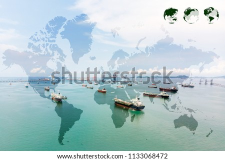 Aerial view of sea freight, Crude oil tanker lpg ngv at industrial estate Thailand / Group Oil tanker ship to Port of Singapore - Global network coverage world map import/export