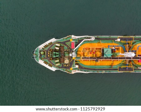 Aerial view of sea freight, Green,yellow oil tanker ship, Lpg, Cng at industrial estate Thailand / Crude Oil tanker to Port of Singapore - import export around in the world