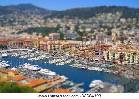 Aerial view of sea port of City of Nice, France. Tilt-shift miniature effect - stock photo