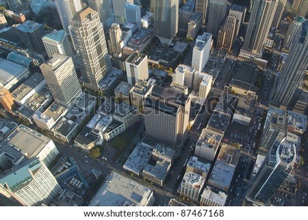 Aerial view of Seattle from small airplane at 1,500 feet - stock photo