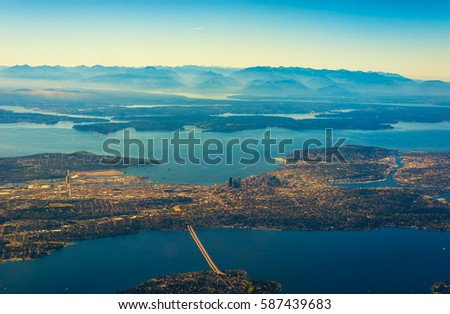 Aerial view of Seattle, Puget Sound