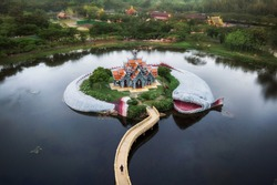 Aerial view of Semeru Mountain Palace at the Ancient Siam (Mueang Boran) outdoor museum in Bangkok, Thailand.