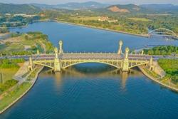 Aerial View Of Seri Gemilang Bridge Putrajaya Malaysia