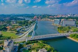 Aerial View Of Seri Wawasan Bridge Putrajaya Malaysia With Turquoise Water Lake And Beautiful Sky