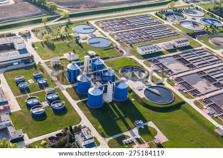 aerial view of sewage treatment plant in wroclaw city in Poland