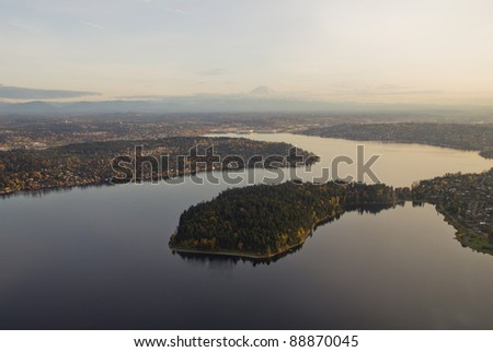 Aerial view of Seward park in Lake Washington at sunset