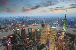 aerial view of shanghai at evening with sunset glow