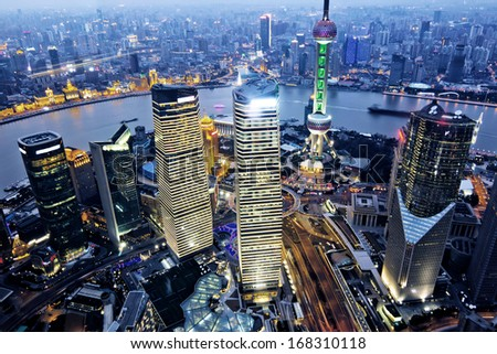 aerial view of shanghai at night from jinmao building Stockfoto ©
