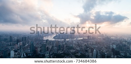 Aerial View of Shanghai city in the morning #734684386