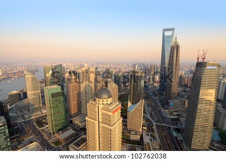 aerial view of shanghai lujiazui finance and trade zone at dusk from the oriental pearl tv tower