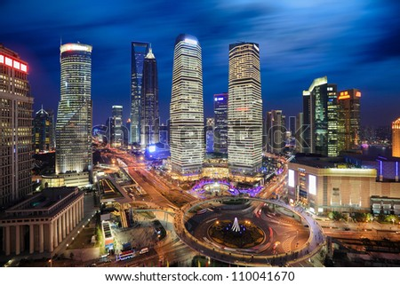 aerial view of shanghai lujiazui finance and trade zone at night