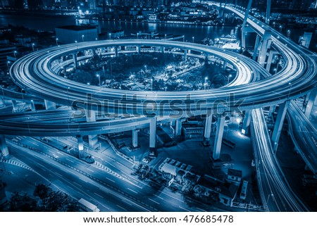 Aerial View of Shanghai overpass at Night #476685478