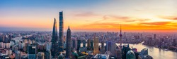 Aerial view of Shanghai skyline and cityscape at sunset,China.