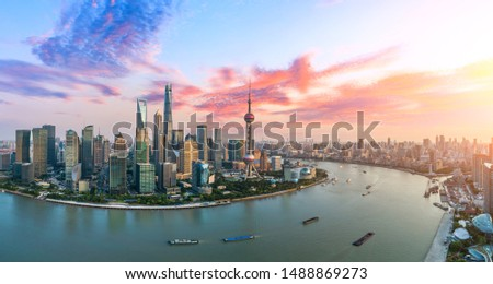 Aerial view of Shanghai skyline at sunset,China.