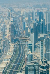 Aerial view of Sheikh Zayed Road major highway in Dubai with Dubai Downtown skyscrapers