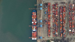 aerial view of ships and containers, port of Santos, Brazil