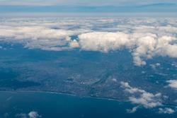 Aerial view of Shonan Area in Kanagawa, Japan.