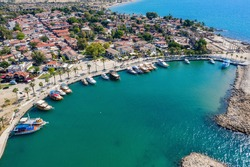 Aerial View Of Side Antique City . Side Old Town amphitheater. Side Harbor marina in Antalya Turkey drone photo view