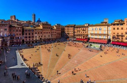 Aerial view of Siena, Campo Square (Piazza del Campo) in Siena, Tuscany, Italy. Architecture and landmark of Siena.