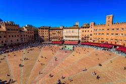Aerial view of Siena, Campo Square (Piazza del Campo) in Siena, Tuscany, Italy. Siena is capital of province of Siena