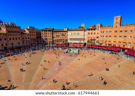 Shutterstock Aerial view of Siena, Campo Square (Piazza del Campo) in Siena, Tuscany, Italy. Siena is capital of province of Siena