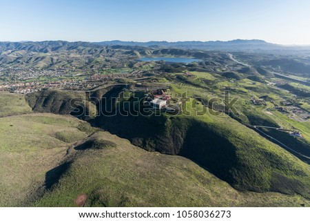 Aerial view of Simi Valley ranch lands and the Ronald Reagan Presidential Library in Ventura County California.