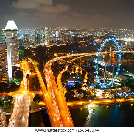 Aerial view of Singapore with Singapore Ferries Wheel
