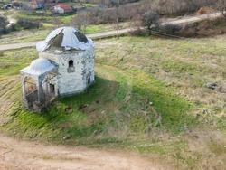 Aerial view of Sixteenth century Ottoman tomb of Hazar Baba (Hazar Baba Tyurbe) in village of Bogomil, Haskovo Region, Bulgaria