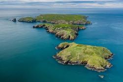 Aerial view of Skomer Island off the West Wales coast, UK