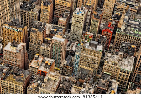 Aerial view of sky scrapers and buildings in Manhattan, New York, USA