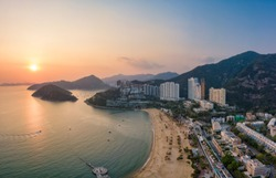 Aerial view of Skyscrapers and Beach at Repulse Bay in the Southern part of Hong Kong