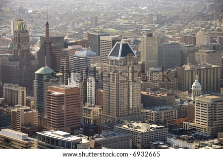 Aerial view of skyscrapers in Baltimore, Maryland.