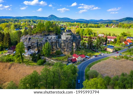 Aerial view of Sloup Castle in Northern Bohemia, Czechia. Sloup rock castle in the small town of Sloup v Cechach, in the Liberec Region, north Bohemia, Czech Republic.  Stock photo ©