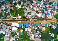 Aerial View of Slum, Top View Of Slum