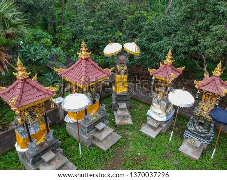 Aerial view of small altar. Temple is used for offerings ceremony to the Balinese water goddess.