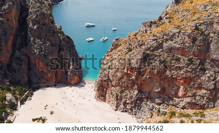 aerial view of small beach of Mediterranean sea, between cliffs, Sa Calobra, Torrent De Pareis beach,Serra De Tramuntana, Mallorca, Spain. High quality photo Foto stock ©