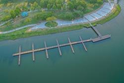 Aerial View Of Small Jetty At The Putrajaya Lake