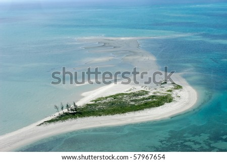 Aerial view of small tropical island of the coast of Mozambique, southern Africa