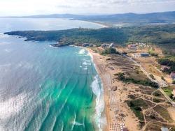Aerial view of Smokinya Beach near Sozopol, Burgas Region, Bulgaria