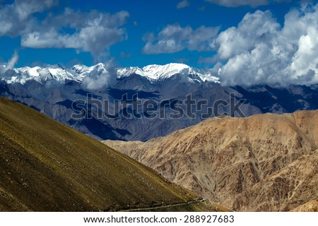 aerial view of snow peaks, Leh ladakh landscape, light and shadow, Jammu and Kashmir, India