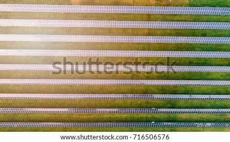 Aerial view of solar farm. Alternative energy from sun #716506576