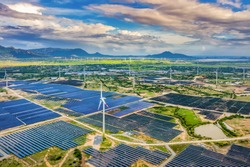 Aerial view of Solar panel, photovoltaic, alternative electricity source - concept of sustainable resources on a sunny day, Phuoc Dinh, Ninh Phuoc, Ninh Thuan, Vietnam
