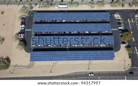Aerial view of solar paneled covered parking