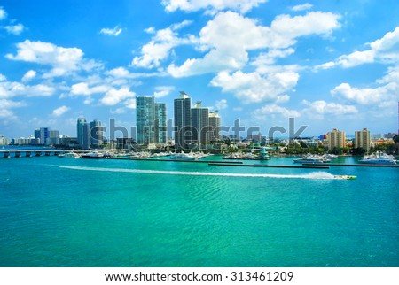 Aerial view of South Miami Beach, bridge  and skycrappers