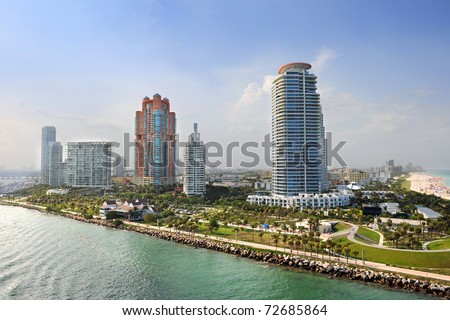 Aerial view of South Miami Beach with luxury apartments and buildings