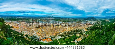 aerial view of spanish city xativa famous for its castle #444551383